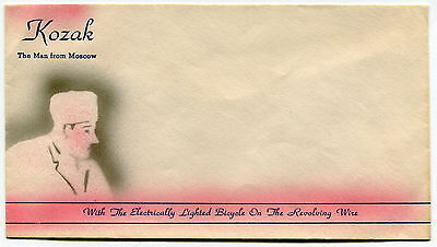 """Vintage Stunt Bicyclist Envelope: """"KOZAK - THE MAN FROM MOSCOW"""""""