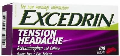 Excedrin Tension Headache Aspirin Free Pain Reliever 100 Caplets Box