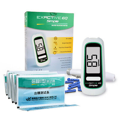 Exactive EQ Simple BLOOD SUGAR GLUCOSE METER MONITOR KIT+STRIPS +LANCETS + CASE