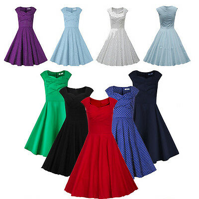 Fashion Women 50s 60s Vintage Style Casual Rockabilly Party Pinup Swing Dress