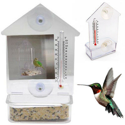 Bird Feeder Window Suction Cup Mixed Treat Clear Holder Feeeding Dish Hanger 6X4