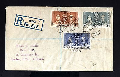 3950-GOLD COAST-REGISTERED COVER ACCRA to LONDON (england).1938.WII.BRITISH.