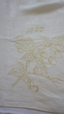 Dated 1880 LINEN DAMASK TABLECLOTH Embroidery Cherry Branch & Monogram AHS
