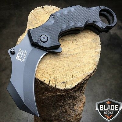 MTECH XTREME TACTICAL Spring Open Assisted BLACK G10 KARAMBIT Pocket Knife NEW!!