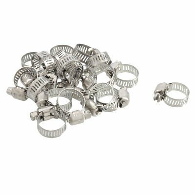 20 Pcs Stainless Steel 9-16mm Hoop Ring Adjustable Hose Clamps Pipe