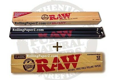 """RAW SuperNatural PAPERS PACK + 12"""" Roller/Rolling Machine FOOT LONG CIGARETTES!"""