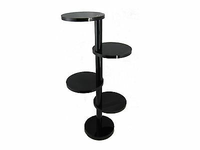 4 Tier Round Black Acrylic Jewelry Display Stand Riser
