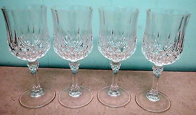 Set of 4 Crystal WIne Glasses Cristal D'Arques-Durand Longchamp 6-1/2""