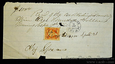Obsolete Bank Check 1865 $100 Handwritten on Loose Leaf Paper W/ Tax Stamp.