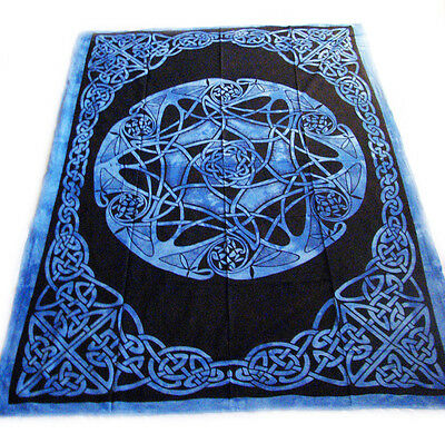 CELTIC Knot MANDALA Blue CIRCLE of LIFE Pagan Wicca TAPESTRY Bedspread Wall Hang
