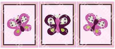 "A set of 3 ""Sugar Plum Butterflies"" 8x10 Nursery Art Prints"