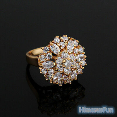 New Women Fashion 18K Yellow Gold Plated Zircon Crystal Ring Jewelry