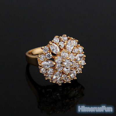 Women Fashion 18K Gold Plated Zircon Crystal Ring Wedding Jewelry