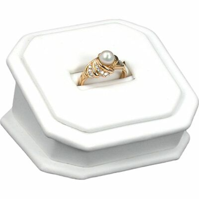 """White Faux Leather Ring Display Stand 1 1/2"""""""
