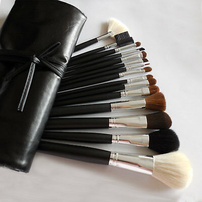 Lot Of 15 Pcs Cosmetic MakeUp Brush Set W Full Size Black Faux Leather Bag Case