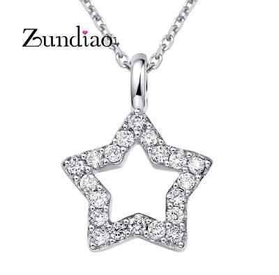 STERLING Silver Micro Pave Cubic Zirconia STAR PENDANT & Chain Necklace Box D17