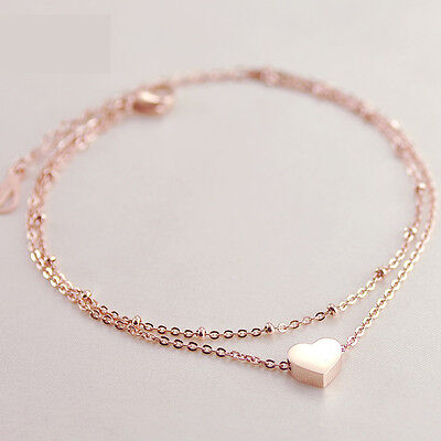 Ladies Girls Double Layer Heart Anklet Ankle Bracelet Chain Adjustable Gold