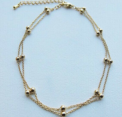 Ladies Girls Double Layer Bead Anklet Ankle Bracelet Chain Adjustable Gold Uk