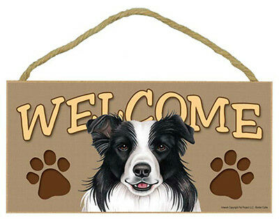 BORDER COLLIE Dog 5 x 10 Wood WELCOME SIGN Plaque USA Made