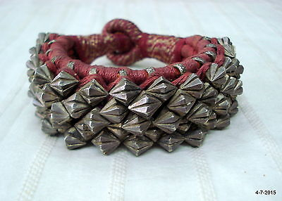 vintage antique collectible tribal old silver cuff bracelet bangle ponch