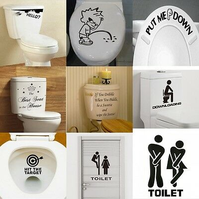 Toilet Seat Art Wall Quote Sticker Bathroom Decoration Decal Vinyl Art Decor New