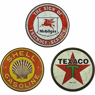 VINTAGE GAS STATION SIGNS Round Tin Sign Set