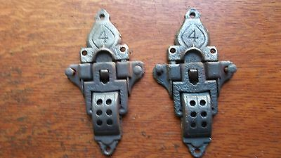 Two Antique Fancy Cast Iron Steamer Trunk Belt Latches c1880 - Unusual #4