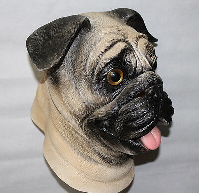 Pug Dog Mask Latex Animal Fancy Dress Canine Halloween Pet Stag Night Costume & PUG DOG MASK Latex Animal Fancy Dress Canine Halloween Pet Stag ...