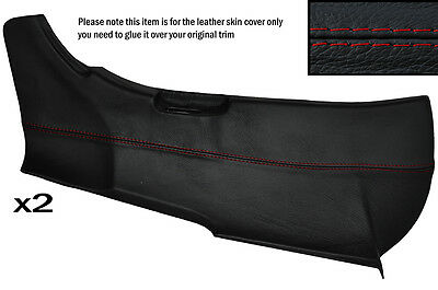 Red Stitch 2X Side Garnish Pillar Leather Skin Covers Fits Honda S2000 99-09