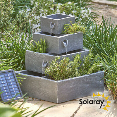 Grey Square 4 Tier Solar Powered Planter Water Feature Fountain Herbs Plant Pot