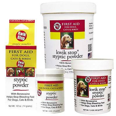 GIMBORN Kwik Stop Styptic Powder Dog Cat & Bird Nail Care - 3 Sizes Available