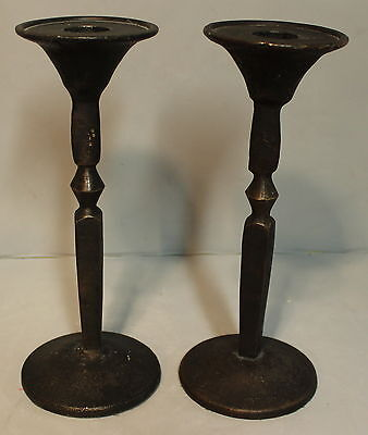 """Pair of Solid Brass Hand Made 8"""" Candlesticks Heavy 3 Pounds"""