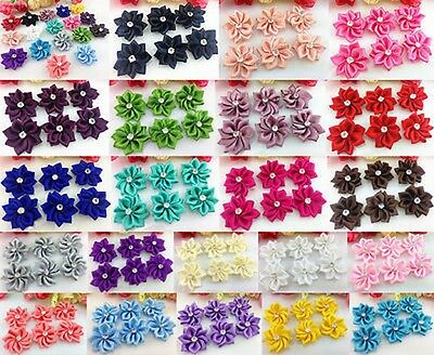 50pcs Upick satin ribbon flowers bows with Appliques Craft DIY Wedding