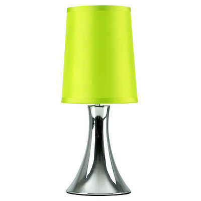 Modern Chrome & Lime Green Touch Bedside Table Lamp Lounge Light Home Lighting