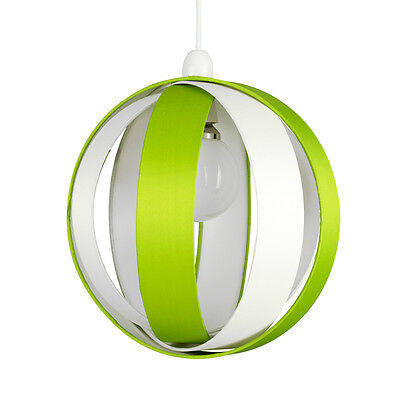 Modern Round Green & Cream Fabric Ceiling Light Pendant Lamp Shade Lampshade