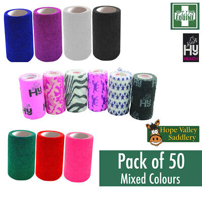 Cohesive Bandage Vet Wrap for Horses, Ponies etc (50 Pack) **FREE UK Shipping**