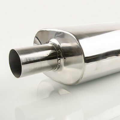 4 in Universal stainless steel muffler oval 5.1 in x 7.9 in length =. 13.8 in