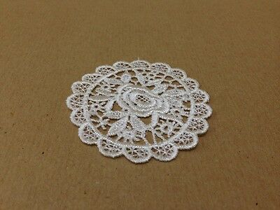 10 x Vintage White Flower Lace Motifs Patches Sewing Sew on Stick on