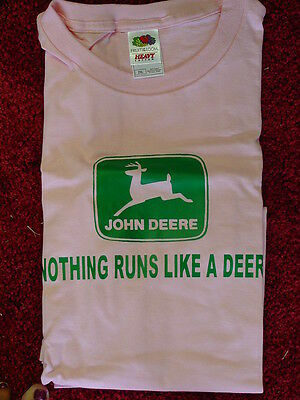John Deere Pink T-Shirt With Jd Logo, New, Size 2Xl