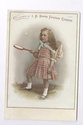 "advertising card little girl & BADMINTON Rochester NY 6 1/2"" x 4 1/4"""