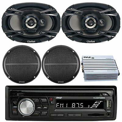 "Kenwood Bluetooth USB CD Marine Radio, 6x9""&6.5"" Speakers, 400W Marine Amplifier"