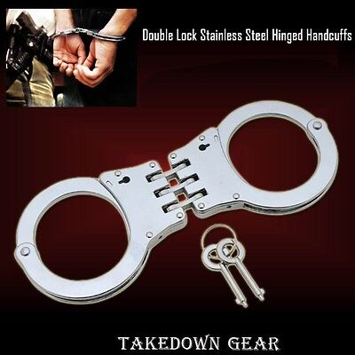Silver Handcuffs Double Lock Triple Hinged Police Hand Cuffs w/ 2 Keys  NEW