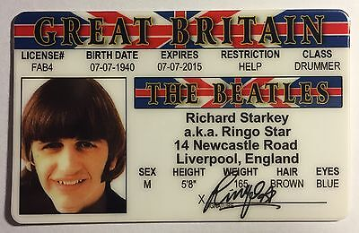 Ringo Starr - Drivers License - ID Card - Novelty - The Beatles