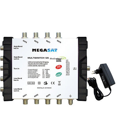 Megasat DiSEqC Sat Multi Switch 5/8 Multiswitch Satellite Splitter