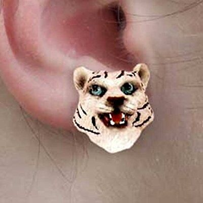 TIGER White Tiny One Animal Head Post Earrings Jewelry