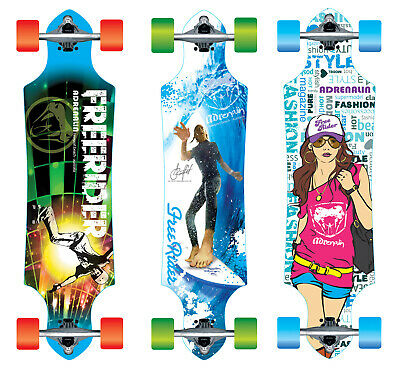 "Adrenalin Freerider Drop-Thru 36"" Skateboard - 3 Designs Available"