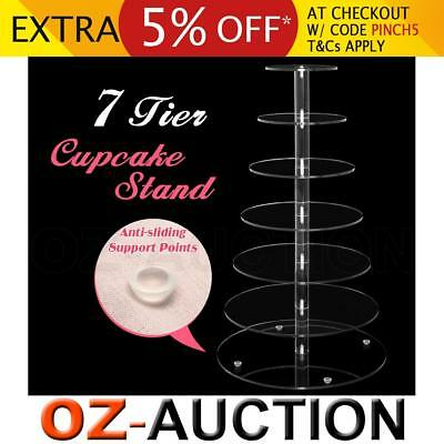 7 Tier Cupcake Cup Cake Stand Display Maypole Round Clear Acrylic Wedding Party