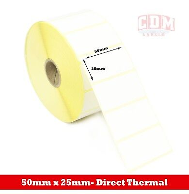 24,000 Direct Thermal Labels - 50mm x 25mm - Zebra LP2844 Label Printer