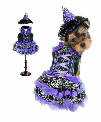 High Quality Dog Costume PURPLE LED WITCH COSTUMES Dogs As LED Light Witches