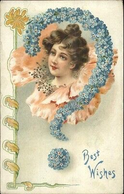 ART NOUVEAU - Beautiful Woman Face in Flower - Floral Question Mark Postcard